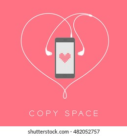 Smartphone black color flat design mock up, heart pixel pink color on screen template and heart shape made from earphones cable white color illustration isolated on pink background, with copy space