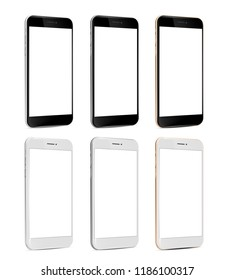 Smartphone black and white blank screen perspective view tree colors - silver, gold, grey - isolated on white background vector eps 10