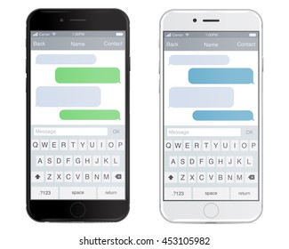 Smartphone black and white, chatting sms app template bubbles, black and white theme. Place your own text to the message clouds. Compose dialogues using samples bubbles! Eps 10 format - stock vector