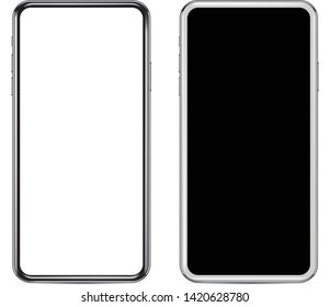 Smartphone in black and white color with blank screen, mockup - Simple way to put a picture or screenshot with clipping mask option - eps10 vector illustration