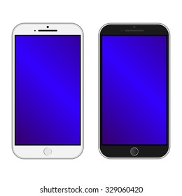 Smartphone black and white color Isolated / Realistic mobile iphon style mockup vector / Can use for printing and website.