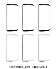Smartphone black and white frameless blank screen perspective view tree colors - silver, gold, grey - isolated on white background vector eps 10