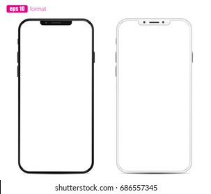 Smartphone black and white with modern bezel less design, rounded screen. Vector mockup with glossy layer.