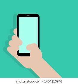 smartphone with blank green screen display in hand on green background with shadow. vector illustration
