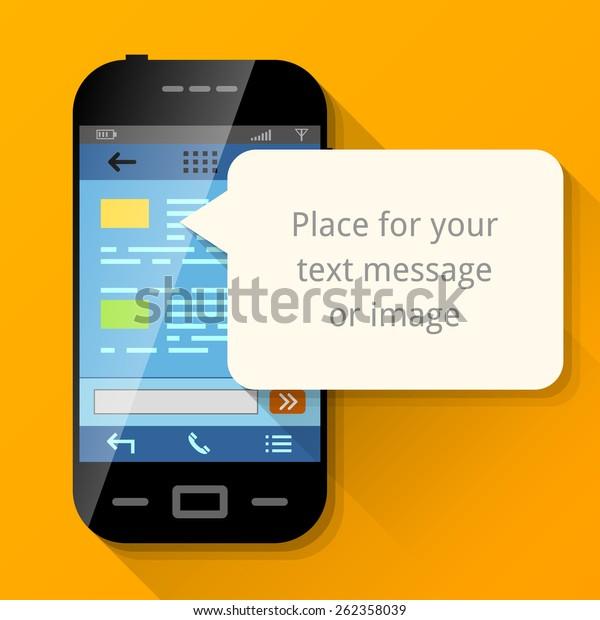Smartphone Blank Message Bubble Dialog Box Stock Vector