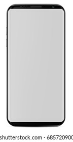 Smartphone with blank screen, modern frame less design rounded screen. Vector eps 10 illustration