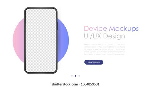 Smartphone blank screen, phone mockup. Template for infographics or presentation UI design interface.