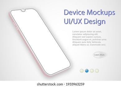 Smartphone blank screen, phone mockup. Infographic template with user interface for presentation.