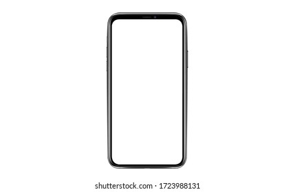 Smartphone with blank screen. Realistick cell phone can be a template for infographics or presentation of interface. Frame less smartphone. Vector Illustration UI/UX design tech