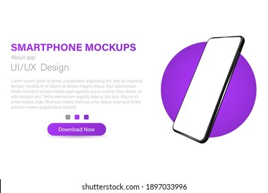 Smartphone with a blank screen in a rotated position. 3d isometric vector illustration of a cell phone. Smartphone in perspective. Template for infographic or presentation interface design.