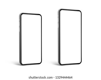 Smartphone blank screen small and max size perspective view isolated on white background template mockup - eps 10 ultra realistic vector