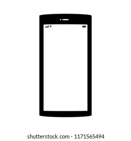 smartphone with blank white screen isolated on white background