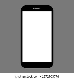 smartphone with blank white screen isolated on grey background. vector illustration
