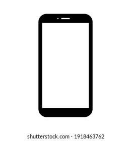 smartphone with blank white screen with blank white screen isolated on white background