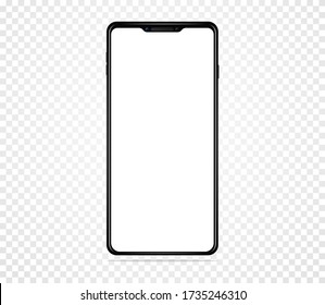 Smartphone with blank white screen. On a transparent background. Realistic Vector Illustration Isolated 10 EPS