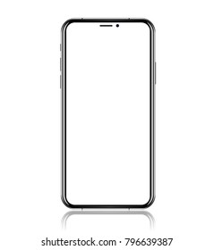 smartphone with blank white screen. Realistic vector illustration.