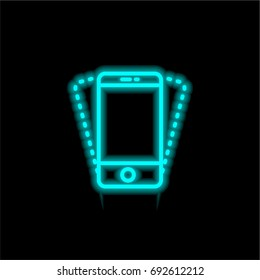 Smartphone blue glowing neon ui ux icon. Glowing sign logo vector