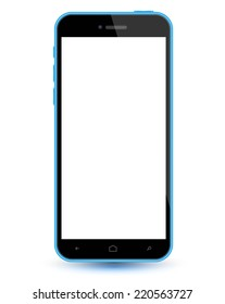 Smartphone blue realistic mockup. Vector illustration. Can use for printing, website, apps element. background for application mockups. can place demo app on screen phone.