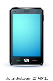 smartphone with blue screen on white