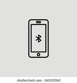 Smartphone Bluetooth Outline Vector Icon