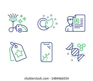 Smartphone broken, Job interview and Loyalty tags line icons set. Vacuum cleaner, Paint brush and Chemistry dna signs. Phone crash, Cv file, Bonus reward. Vacuum-clean. Business set. Vector