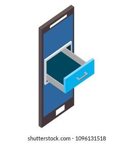smartphone cabinet drawer storage isometric