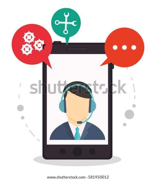 smartphone call center assistance talking
