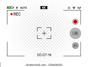 Smartphone camera horizontal viewfinder template with buttons. 4K phone resolution video rec frame on white background. Record video snapshot photography