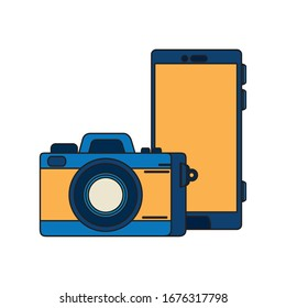 smartphone with camera photography isolated icon vector illustration designs