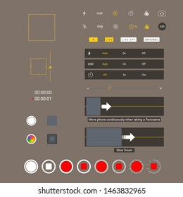 Smartphone camera screen icons. Interface social media application. Iphone user interface photo frame design camera. Flash, hdr, live, quality, time, stabilization ui icons. Vector mockup illustration