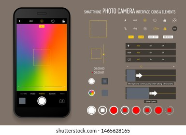 Smartphone camera screen icons. Interface social media application. Iphone ser interface photo frame design camera. Flash, hdr, live, quality, time, stabilization ui icons. Vector mock up illustration