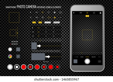 Smartphone camera screen icons. Interface social media application. Iphone user interface photo frame design camera. Flash, hdr, live, quality, time, stabilization ui icons. Vector illustration