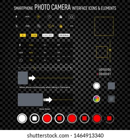 Smartphone camera screen icons. Iphone interface social media application. User interface photo frame design camera. Flash, hdr, live, quality, time, stabilization ui icons. Vector illustration