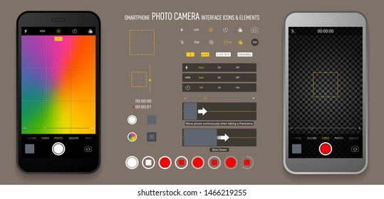 Smartphone camera screen interface social media application. Iphone user interface photo frame design camera. Flash, hdr, live, quality, time, stabilization ui icons. Vector mock up illustration