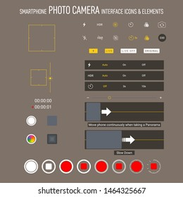 Smartphone camera screen iphone icons. Interface social media application. User interface photo frame design camera. Flash, hdr, live, quality, time, stabilization ui icons. Vector mockup illustration
