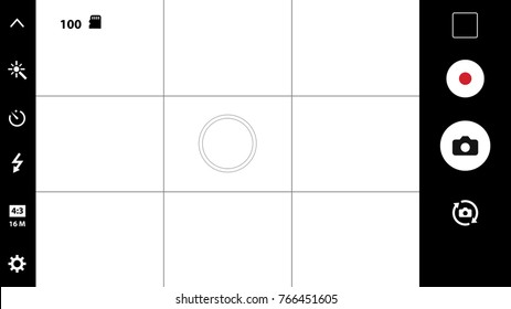 Smartphone camera viewfinder. Template focusing screen of the camera. Viewfinder camera recording. Video screen on a black background. vector illustration