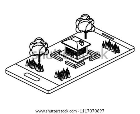 Smartphone Camp Building Isometric Stock Vector Royalty Free