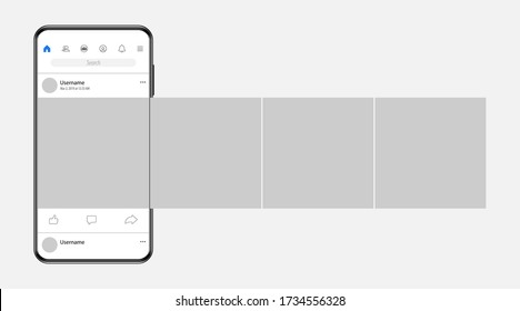 Smartphone with carousel interface post on social network. Vector illustration.