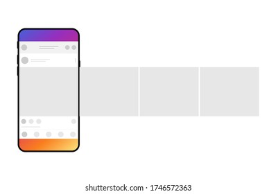 Smartphone with carousel interface post on social network. Minimal design.