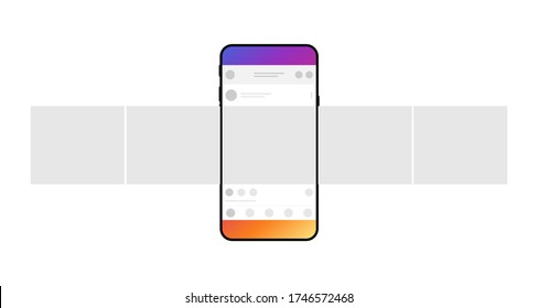 Smartphone with carousel interface post on social network. Minimal design. Vector illustration.