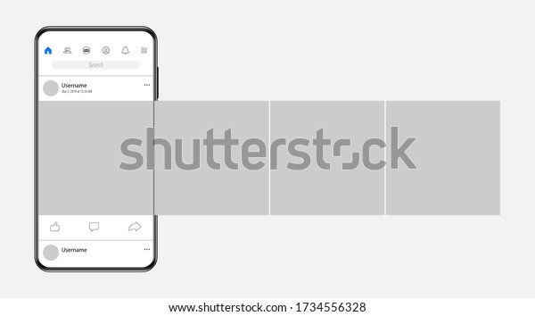 Smartphone with carousel interface post on social network.