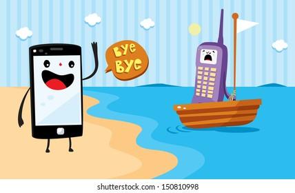 smart-phone cartoon