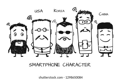 Smartphone characters, sketch for your design