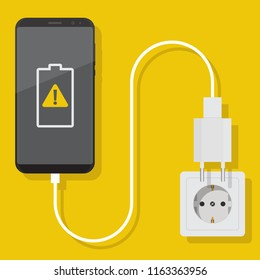 Smartphone charger adapter and electric socket, notification of a damaged battery, flat design illustration
