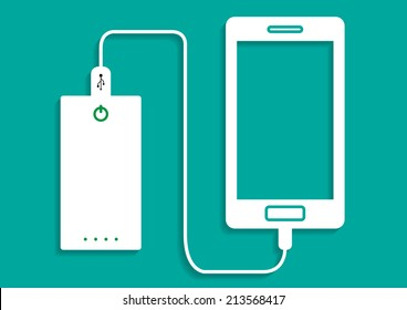 smartphone charging with powerbank vector icon