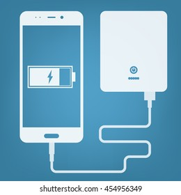 smartphone charging with powerbank vector icon. power bank