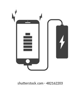 smartphone charging with powerbank vector icon. power bank flat style.