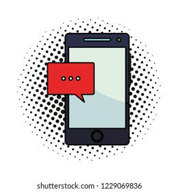 Smartphone and chat bubble pop art