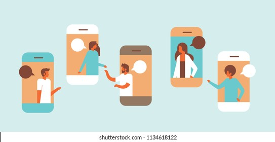 smartphone chat bubbles mobile application communicating speech dialogue man woman character background portrait horizontal flat vector illustration