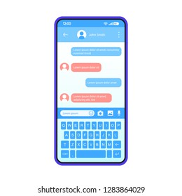 Smartphone chat interface vector template. Mobile app interface blue design layout. SMS messenger screen. Flat UI for message application. Social media. Dialog, conversation. Phone display